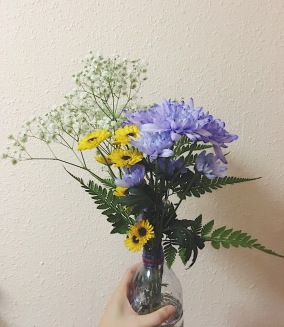 Look at my flower arrangement! I love it so much!!