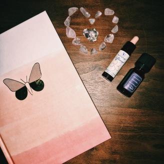 Journal + essential oil + rose quartz!