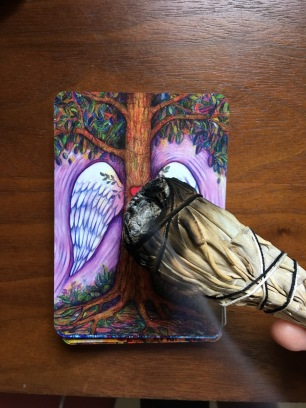 Smudging my oracle cards!